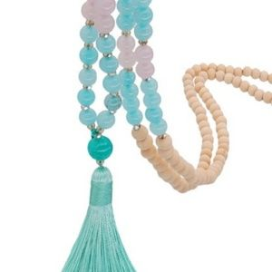 Beaded Necklace with Turquoise Tassel
